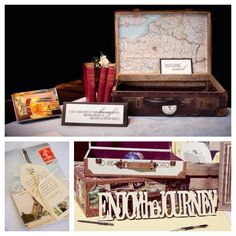 travel wedding - vintage suitcase for cards!