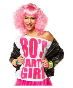 80s Party Girl Pink Womens T - 1980s Costumes