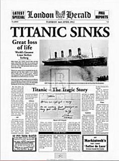 RMS Titanic was a British passenger liner that sank in the North Atlantic Ocean on 15 April 1912 after colliding with an iceberg during her maiden voyage from Titanic Ship, Rms Titanic, Newspaper Article, Old Newspaper, Titanic Poster, Titanic History, Newspaper Headlines, Shocking News, Headline News