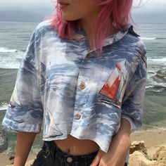 Trop Crop Top upcycled men's hawaiian shirt to fit by RestoredRose