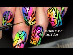 31 Nail Ideas - Page 8 of 25 - Nail Art & Nail Designs Ideas Types Of Nail Polish, Pink Nail Polish, Types Of Nails, Rainbow Nail Art Designs, Cute Nail Designs, Acrylic Nail Designs, Goth Nails, Diva Nails, Neon Nail Art