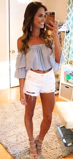 #Summer #Outfits / Beige Heels + White Ripped Short