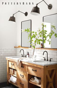 Modern bathroom sinks to emphasize small bathroom design - latest decorModern bathroom sinks to emphasize small bathroom design. Tiles wood storage space color design how to refresh a bathroom with Modern Farmhouse Bathroom, Rustic Bathrooms, Rustic Farmhouse, Farmhouse Style, Pottery Barn Bathroom, Farmhouse Ideas, Master Bathrooms, Rustic Style, Rustic Wood