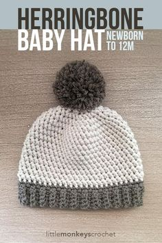 """Your little one will stay warm and snuggly in this adorable hat made with the Herringbone HDC stitch, a welcome change from the typical HDC hat. Add an optional pom pom for extra cuteness!"""
