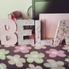 this is a size 8 letter standees for my beautiful niece bella _