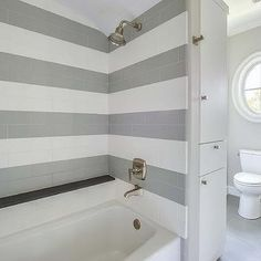 Shower With Gray Subway Tiles - Design photos, ideas and inspiration. Amazing gallery of interior design and decorating ideas of Shower With Gray Subway Tiles in bathrooms, laundry/mudrooms, kitchens by elite interior designers. Bathroom Renos, Basement Bathroom, Bathroom Flooring, Small Bathroom, Rental Bathroom, Bathroom Canvas, Bathroom Ideas, Bathroom Tray, Gray Shower Tile
