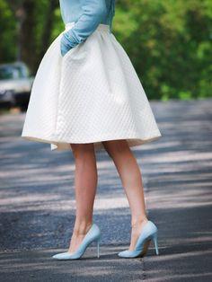 white skirt and light blue