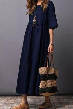 Round Neck  Plain  Cotton/Linen Maxi Dress
