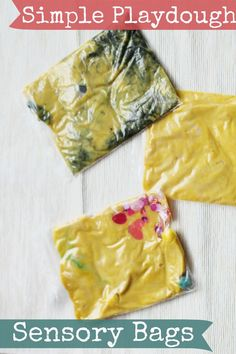 Simple playdough sensory bags for squishing and squeezing. Mess-free way to play with the texture of playdough for tactile defensive kids Playdough Activities, Infant Activities, Activities For Kids, Crafts For Kids, Classroom Activities, Sensory Bags, Sensory Play, Toddler Classroom, Toddler Preschool