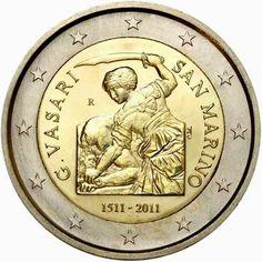 2 euro Anniversary of the birth of Giorgio Vasari - 2011 - Series: Commemorative 2 euro coins - San Marino Giorgio Vasari, Billet En Euros, Euro Währung, Piece Euro, Timbre Collection, Euro Coins, Foreign Coins, Coin Art, Gold And Silver Coins