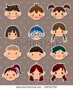 stock-vector-kid-face-stickers-102337702.jpg (383×470)