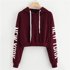 Women Sweatshirt Autumn Hoodies Crop Coat Drop Shoulder Print Sleeve Pullover Casual Drawstring Sweatshirt Top Burgundy S Teen Fashion Outfits, Outfits For Teens, Trendy Outfits, Fashion Women, Ootd Fashion, Fashion Black, Fashion Ideas, Hoodie Outfit, Cute Comfy Outfits
