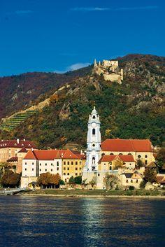 Duernstein on the Danube river, Wachau valley, Austria