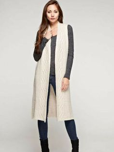 This oatmeal colored sweater vest duster will compliment every outfit this fall and winter!Acrylic/wool blend with cable detail on. Long Sweater Vest, Duster Vest, Fall Jeans, Long Vests, Acrylic Wool, Ready To Go, Wool Blend, Compliments, Oatmeal