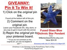 GIVEAWAY - Pin It To Win It: To Win This Item from MtBaldyGlassWorks.etsy.com - follow the instructions: Click on ORIGINAL pin, comment leaving a way to contact you, REPIN the ORIGINAL Pin! Contest ends 7/17/12 @ 11:59pm EST. Winner announced 7/18/12.