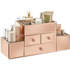 Photo Image Amazon Beautify Mirrored Rose Gold Glass Jewelry Box u Cosmetic