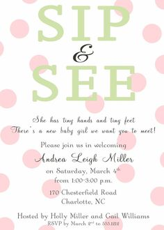 Lots Of Dots Sip N See Invitation By Sweetbirsnest On Etsy And