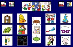 pictograma de nochevieja - Buscar con Google Projects To Try, Playing Cards, Language, Holiday Decor, Boards, Winter, Google, Social Stories, Special Education