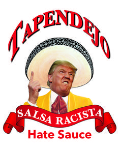"This pin is more Horatian than Juvenalian. We see Trump supposedly being racist today. Again this pin shows the ""hate"" Trump has for Mexicans. This satire is more so funny to me than it is real due to the fact that Trump is a ""racist."" I do not consider him racist, The goals in this satire are trying to prove what Trump is but they are not quite getting the overall meaning of what Trump is really about."