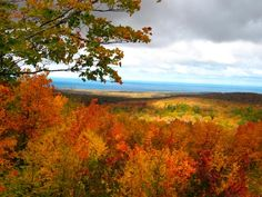 Porcupine Mountains in Michigan in blazing fall color