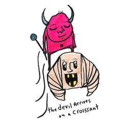 the devil arrives on a croissant Bee Drawing, Croissant, Devil, Snoopy, Sketch, Spirit, Comics, Drawings, Illustration