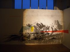 Collaborative installation with Louise Kernaghan:  Acrylic, emulsion and overhead projections, 2011  ©Emily Moore