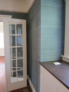 Blue-Grey Grasscloth Wallpaper for Dining Room