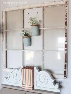 farmhouse decor with #chippy corbels and #paintedmasonjars  and #vintagewindow