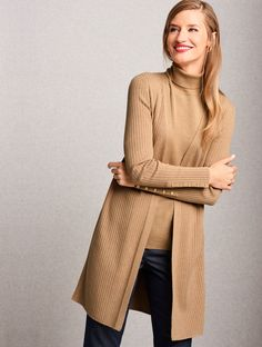 Layer on chic new styles for fall. Our Ribbed Duster Cardigan offers fashionable texture and dimension with functional buttons adorning each arm cuff. This must-have sweater goes with practically everything. | Talbots