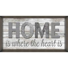 """Home Is Where The Heart Is"" Silver Framed Wall Art  