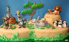 This Marvelous Madagascar Cake was made by CAKES Variedades. The craftsmanship of the characters is incredible. This cake features Alex, Marty, Gloria, Melman, King Julien XIII, Maurice, Skipper, Kowalski, Private, Rico, Mason, and Phil.