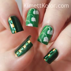 Kimett Kolor: Theme of the Month: May Emeralds Framing Lily of the Valley Gel Nail Art, Nail Manicure, Gel Nails, Valley Nails, Emerald Nails, Nail Stamper, Lily Of The Valley Flowers, Love Lily, Flower Nails