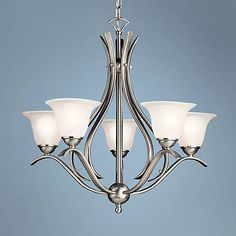 Dover Collection Brushed Nickel Five Light Chandelier - #63443 | Lamps Plus