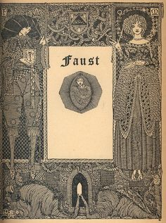 A 1960 edition of Goethe's Faust.    Harry Clarke was an Irish artist (1889-1931) who was known for his book illustrations and stained glass creations. Important figure in the Arts and Crafts movement and was heavily influenced by Art Nouveau and Art Deco.