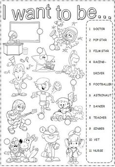 """""""I want to be"""" Worksheet for teaching about Professions English Time, Kids English, English Lessons, Learn English, English Worksheets For Kids, English Activities, School Worksheets, English Classroom, English Vocabulary"""