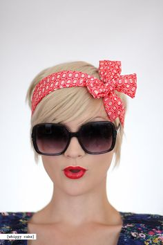Red Geometric Head Wrap by whippycake on Etsy, $16.00