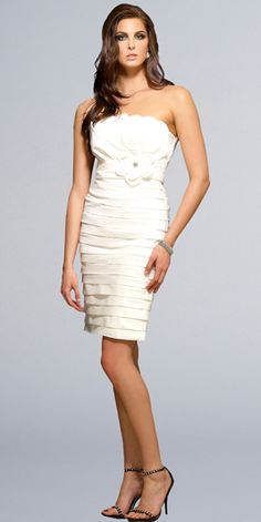 Undaform Neckline Tiered Flower Flat Band White Tea Length Cocktail Dress