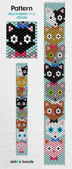Peyote Stitch Patterns, Beading Patterns, Bead Embroidery Jewelry, Beaded Embroidery, Beaded Boxes, Cat Love, Perler Beads, Beadwork, Pixel Art
