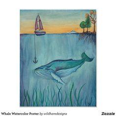 Affiche d'aquarelle de baleine