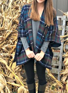 I've been obsessed with this plaid open-front poncho I found at Old Navy, so I'm wearing it ever chance that I get. It's comfy, warm and easy to throw on.