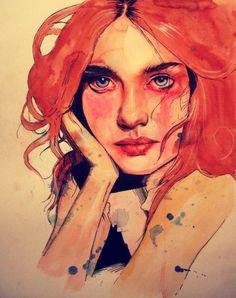 "artforadults:    Olga Noes is also a talented artist on tumblr…  olganoes:    ""Motley"" 2012. Watercolor, ink and colored pencil on recycled Bristol board.  www.olganoes.com  www.facebook.com/olganoes"