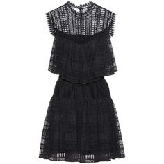 Philosophy Di Lorenzo Serafini Cotton-Blend Lace Dress (€580) ❤ liked on Polyvore featuring dresses, black, lacy dress, lace dress and cotton blend dresses