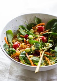 SUPER SPINACH SALAD + CARROT MISO GINGER DRESSING - THE SIMPLE VEGANISTA