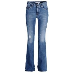Victoria Beckham Denim Distressed Flared Jeans ($505) ❤ liked on Polyvore featuring jeans, blue, flare jeans, frayed jeans, distressing jeans, destructed jeans and torn jeans