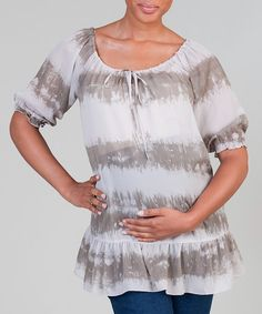 Take a look at this Silver & Moss Stripe Maternity Peasant Tunic by Haven on #zulily today! $37.99