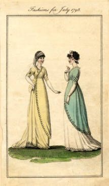 Summer dresses, 1798 :: Fashion Plate Collection, 19th Century. I like the way they cross over in front
