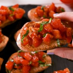 Best-Ever Bruschetta Best-Ever Bruschetta,Food Toasted bread gets rubbed with garlic (don't skip it, it's the best part) and topped with simply marinated tomatoes. The brighter and juicier your tomatoes, the better your bruschetta. Vegetarian Recipes, Cooking Recipes, Healthy Recipes, Detox Recipes, Cooking Tips, Healthy Snacks, Appetizer Recipes, Holiday Appetizers, Halloween Appetizers