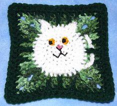 """Kitties! - free 6"""" crochet square pattern by Cyberspnr."""