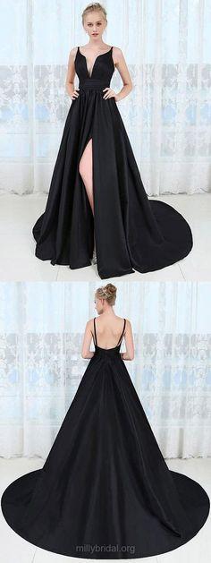 Black Prom Dresses,Long Prom Dresses,Sexy Prom Dresses For Teens,2018 Prom Dresses Princess, V-neck Prom Dresses Satin Ruffles #blackdresses