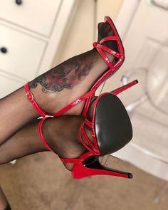 Red High Heels, High Heels Stilettos, Stiletto Heels, Pantyhose Heels, Stockings Heels, Gorgeous Feet, Hot Shoes, Ankle Straps, Hosiery